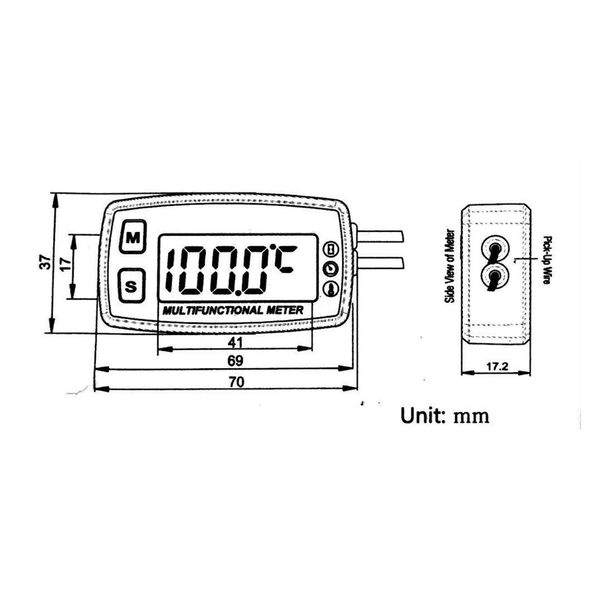 12v Digital Lcd Engine Multifunction Tach Hour Meter