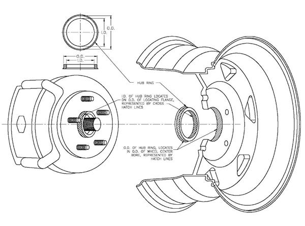4pcs 57.1-66.6mm aluminium wheel spigot reducer rings hub