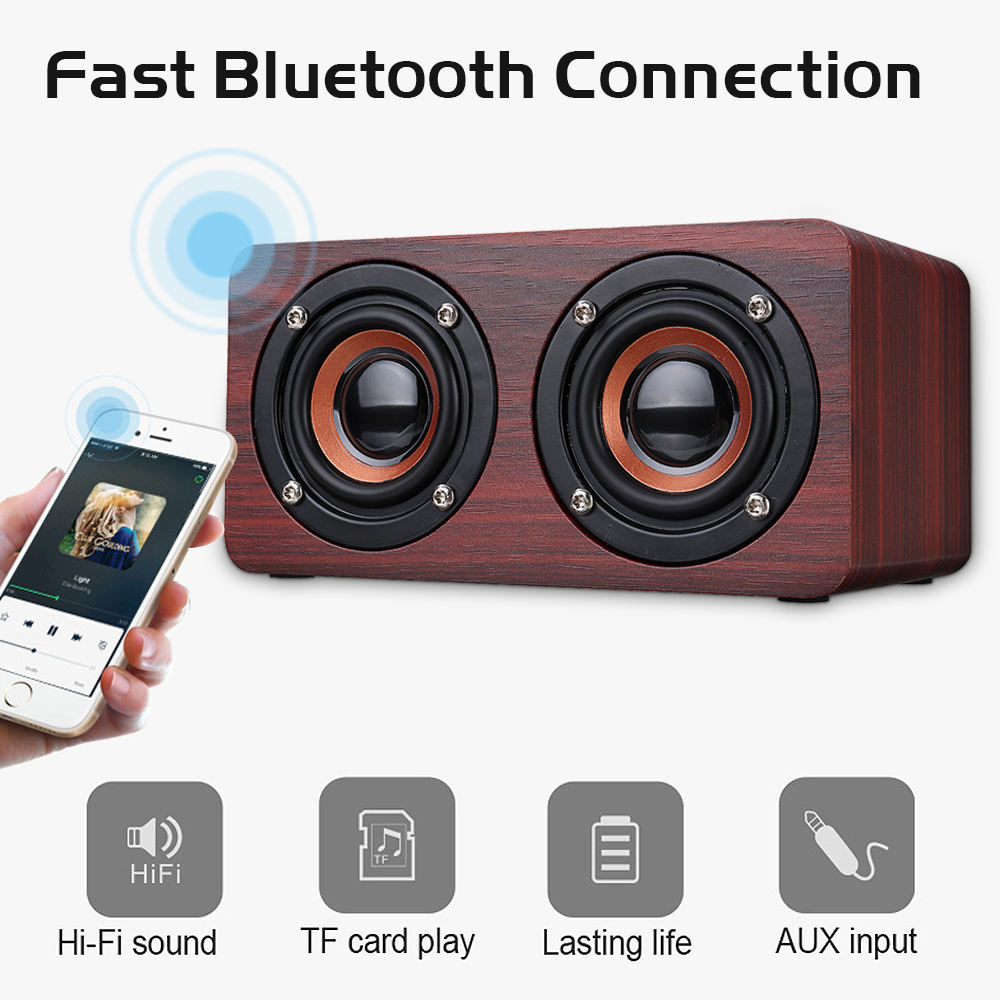Wooden Stereo Bass Bluetooth 4.2 Speaker Audio Music Box with Mini Microphone 11