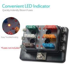 6 way led illuminated automotive blade fuse holder box circuit fuse block 32v [ 1500 x 1500 Pixel ]