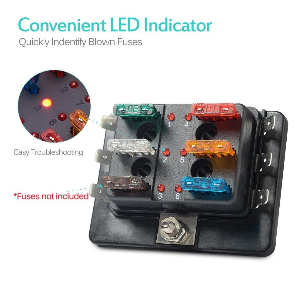 medium resolution of 6 way led illuminated automotive blade fuse holder box circuit fuse block 32v
