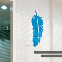 3D Multi-color Feather Silver DIY Shape Mirror Wall ...