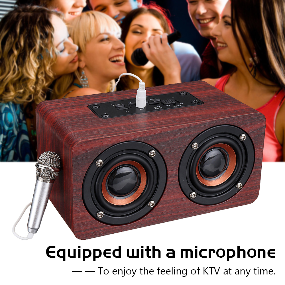 Wooden Stereo Bass Bluetooth 4.2 Speaker Audio Music Box with Mini Microphone 14