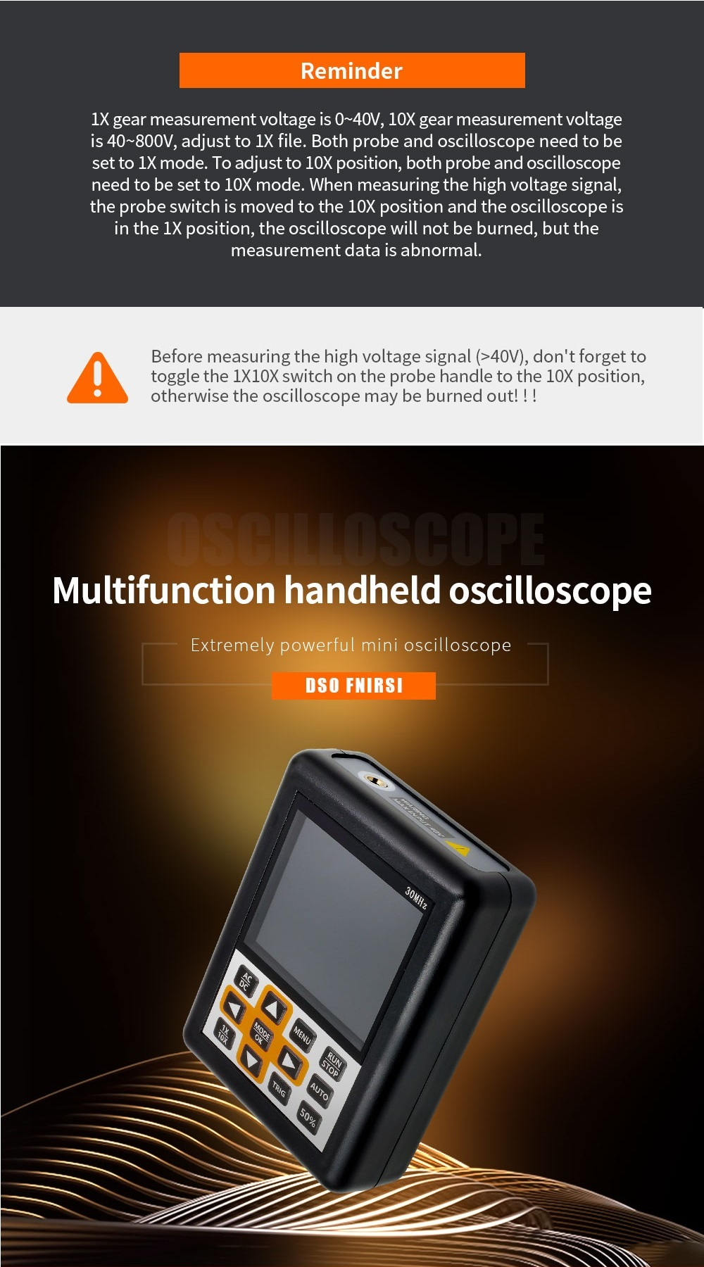 DSO338 Handheld Oscilloscope 30MHz Bandwidth 200M Sampling Rate 2.4 Inch IPS Screen 320*240 Resolution Technology Built-in 64M Storage  Built-in 3000mah Lithium Battery 33