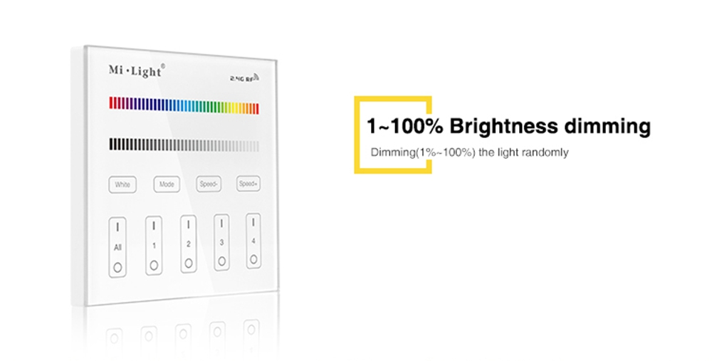 milight t3 ac180v-240v 4-zone rgb/rgbw smart panel remote