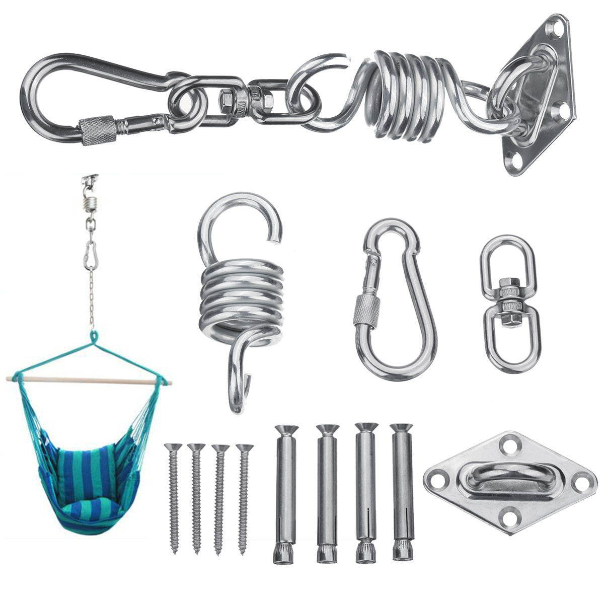 hanging chair bolt antique childs rocking stainless steel hammock kit ceiling mount spring swivel snap hook accessories