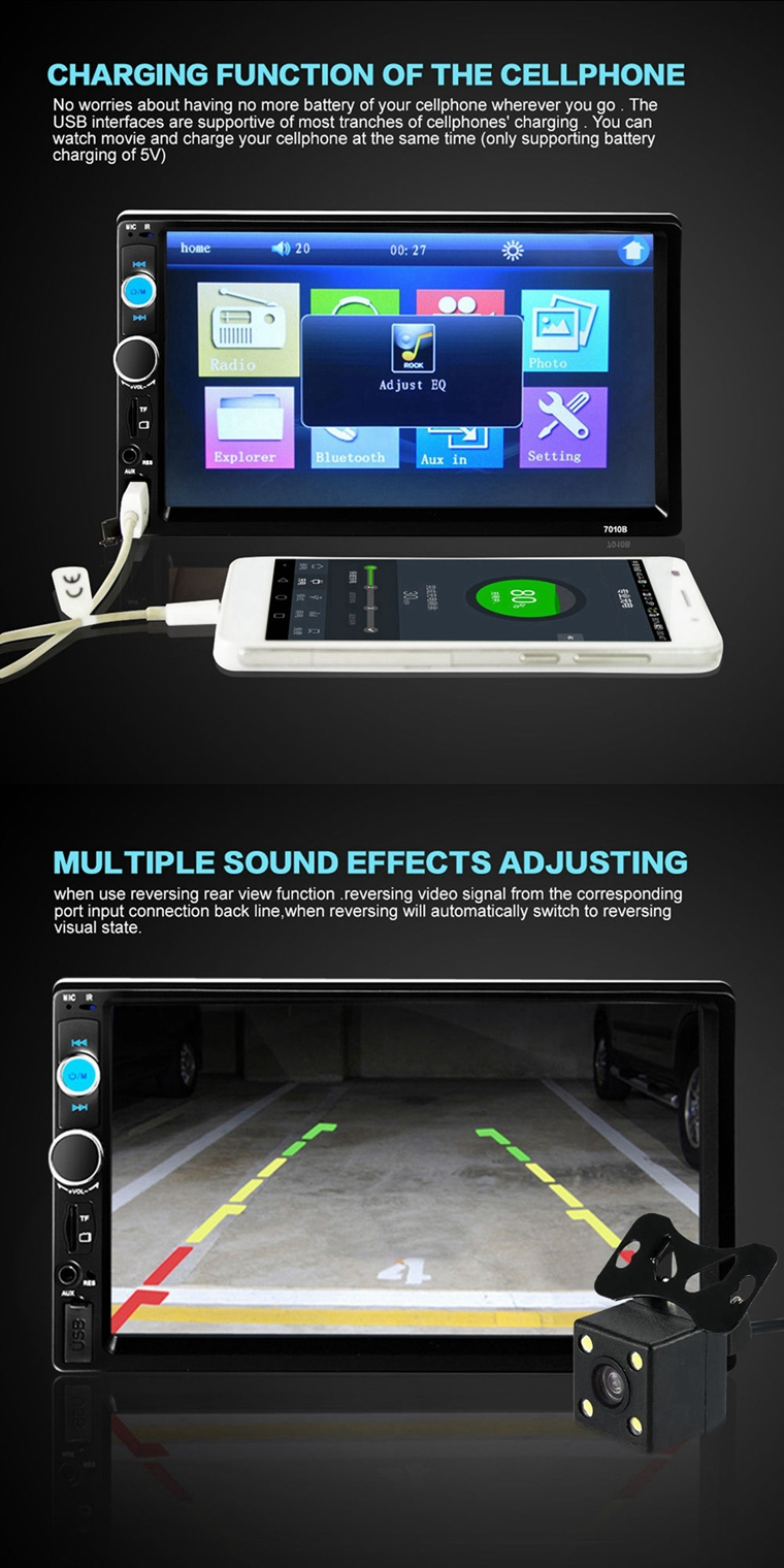 hight resolution of 7 inch car stereo radio mp5 mp3 player fm usb aux full hd bluetooth touch screen