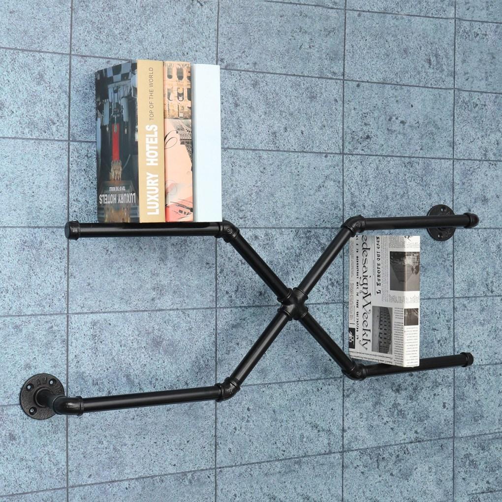Vintage Industrial Retro Pipe Shelf Bracket Storage Book Wall Floating  Mount Holder