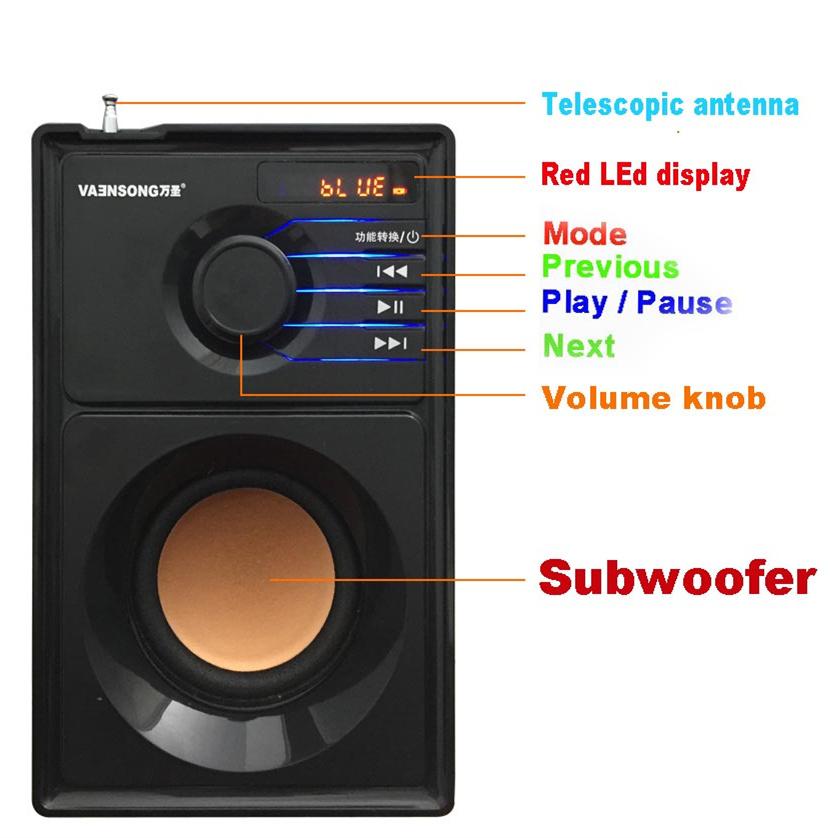 VAENSON A10 Portable Wireless Bluetooth Speaker USB Column MP3 Play FM Radio Stereo Subwoofer 12