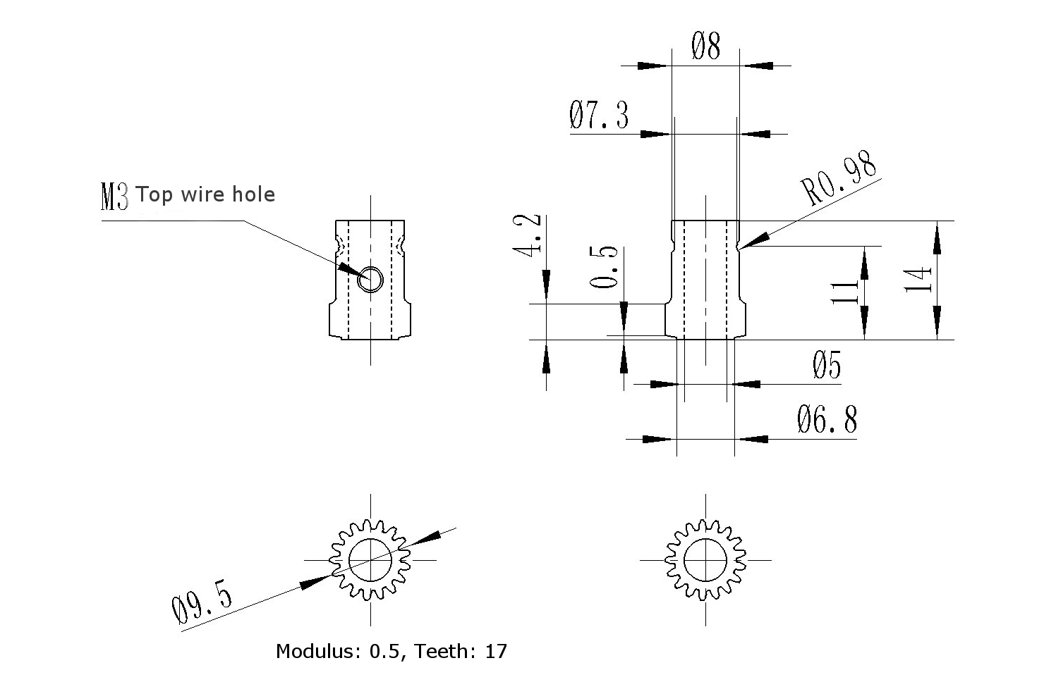Stainless Steel Bondtech Two Way Driver Gear Extruder