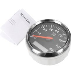 12v 24v marine tachometer boat tacho meter gauge lcd hourmeter 8000 rpm 85mm [ 1200 x 1200 Pixel ]