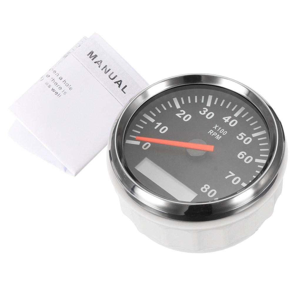 medium resolution of 12v 24v marine tachometer boat tacho meter gauge lcd hourmeter 8000 rpm 85mm