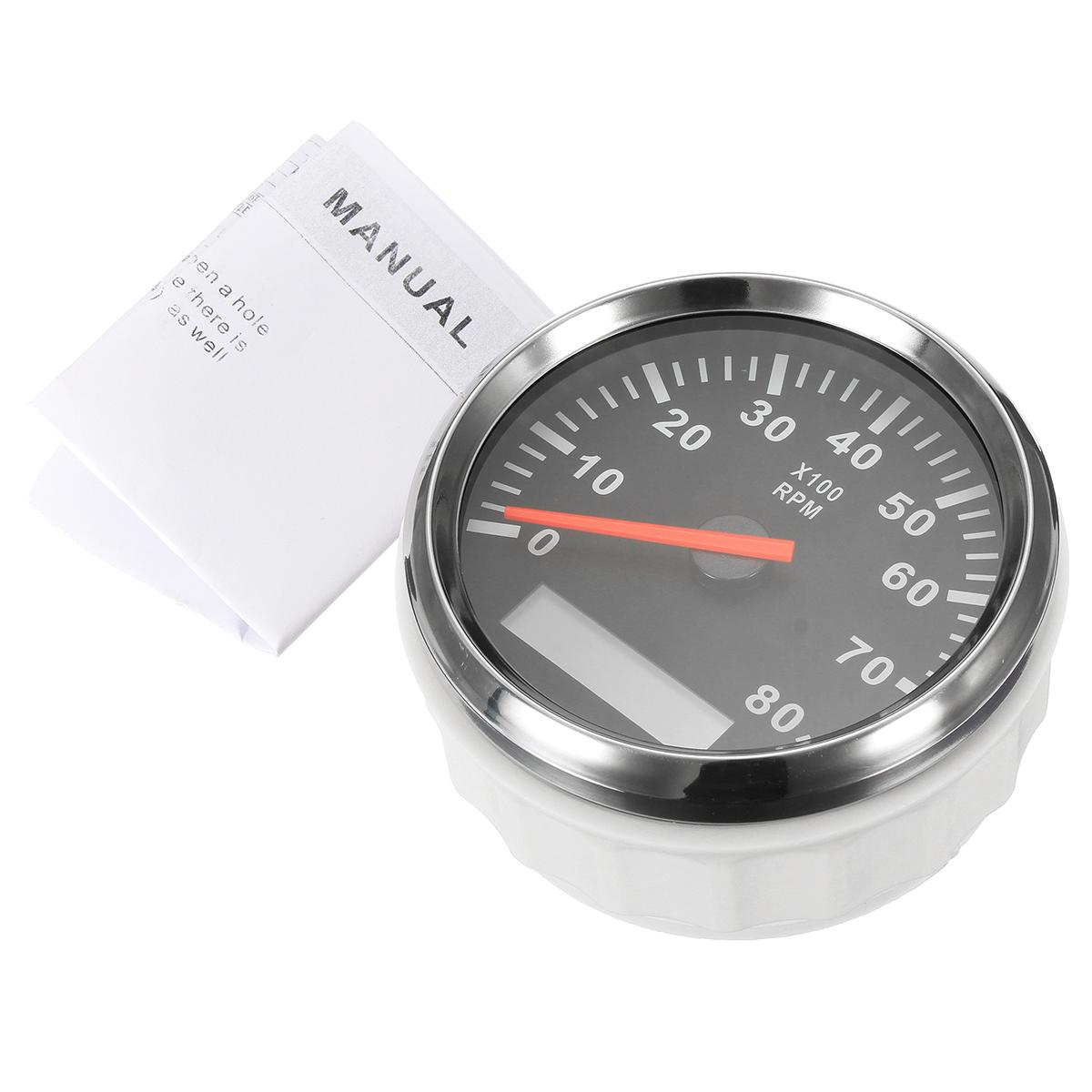hight resolution of 12v 24v marine tachometer boat tacho meter gauge lcd hourmeter 8000 rpm 85mm