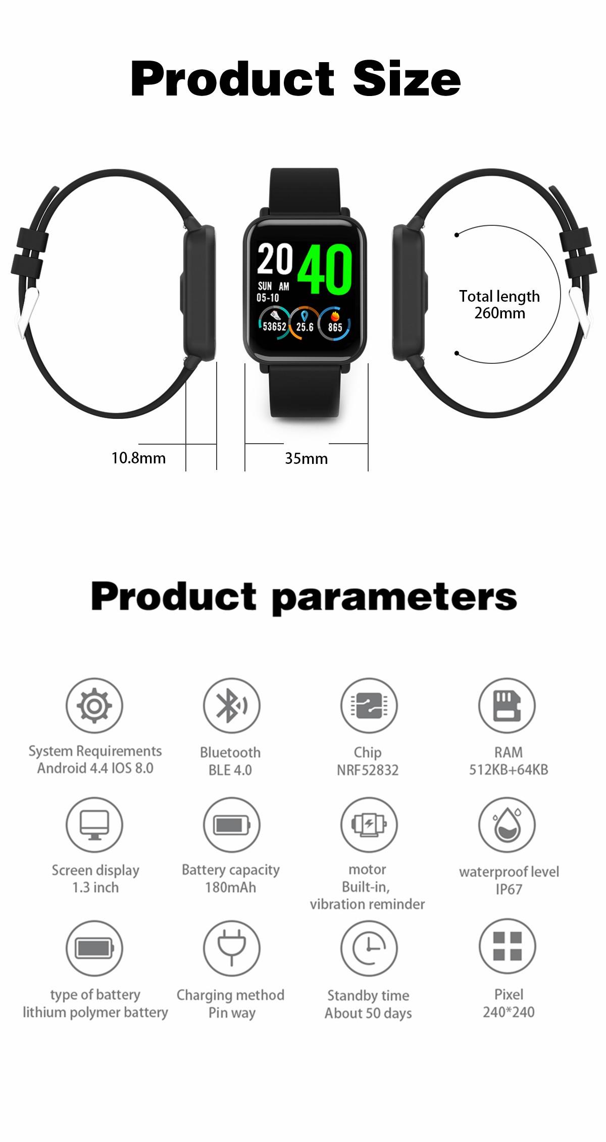 Bakeey R6 1.3' Full Color Screen 24h HR Blood Pressure