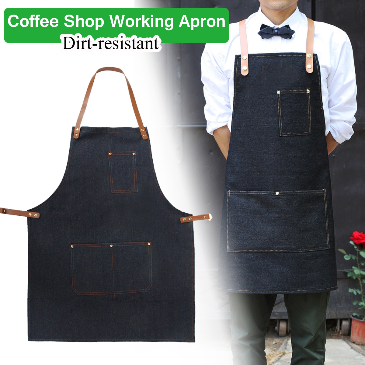 kitchen aprons cabinet drawer slides apron work clothes cafe barista pockets soldering barber denim workwear straps cod