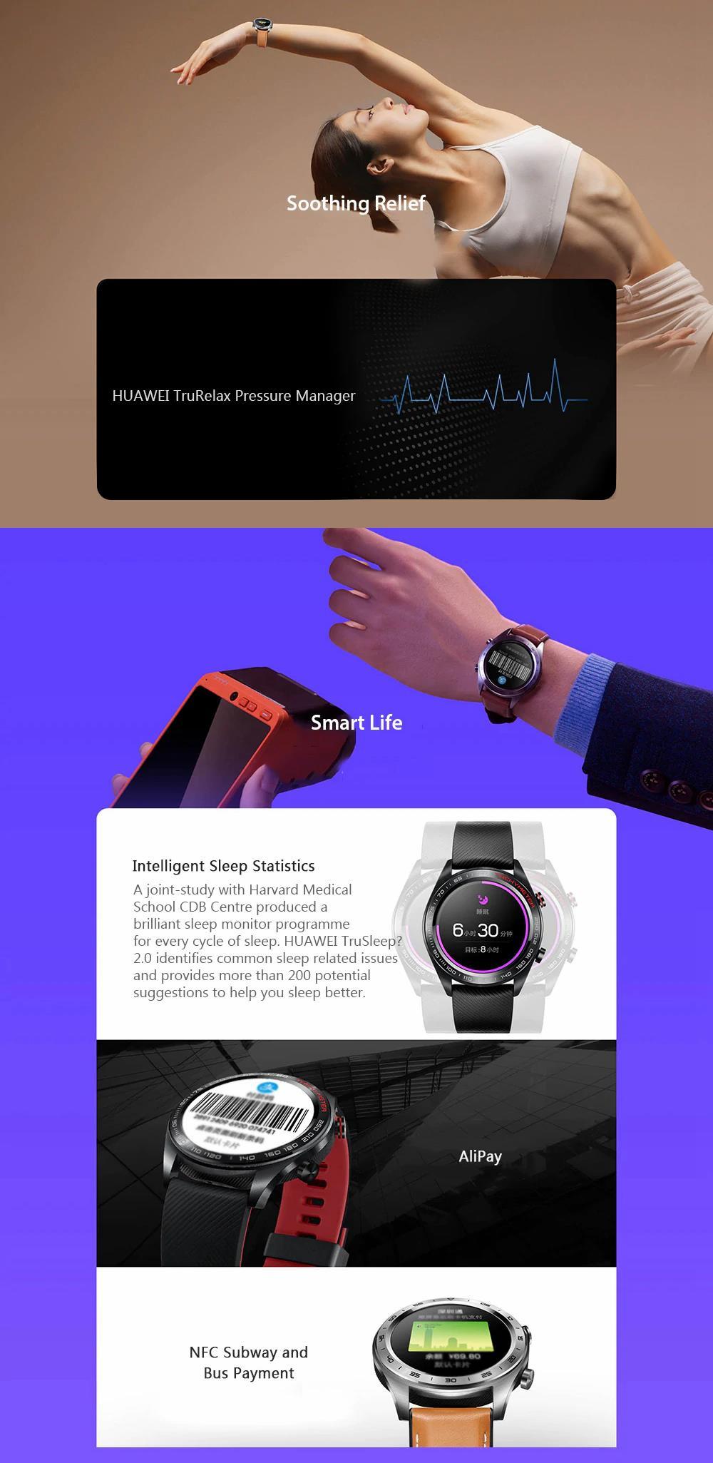 Huawei Honor Watch Magic Smart Watch 1 2' AMOLED GPS Multi-sport Long  Battery Life Smart Watch