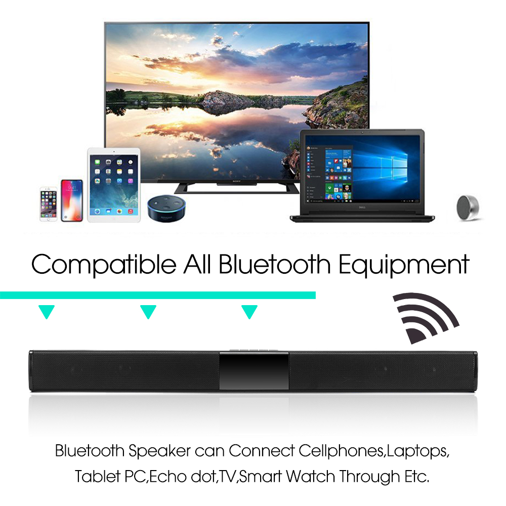 20W Wireless Bluetooth Speaker HiFi Stereo Soundbar FM Radio TF Card Aux-in Bass Speaker with Mic 10