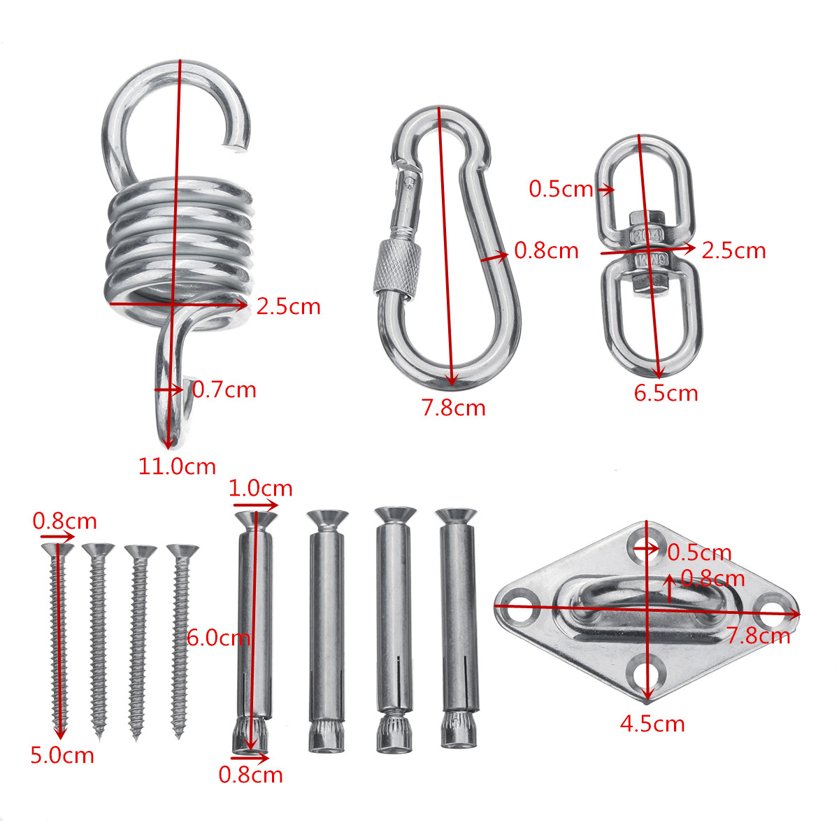 hanging chair bolt lawn covers lowes stainless steel hammock kit ceiling mount