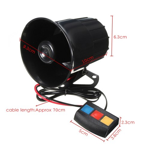 small resolution of 110db 12v 3 sound pa system loud horn siren alarm speaker for car motorcycle van