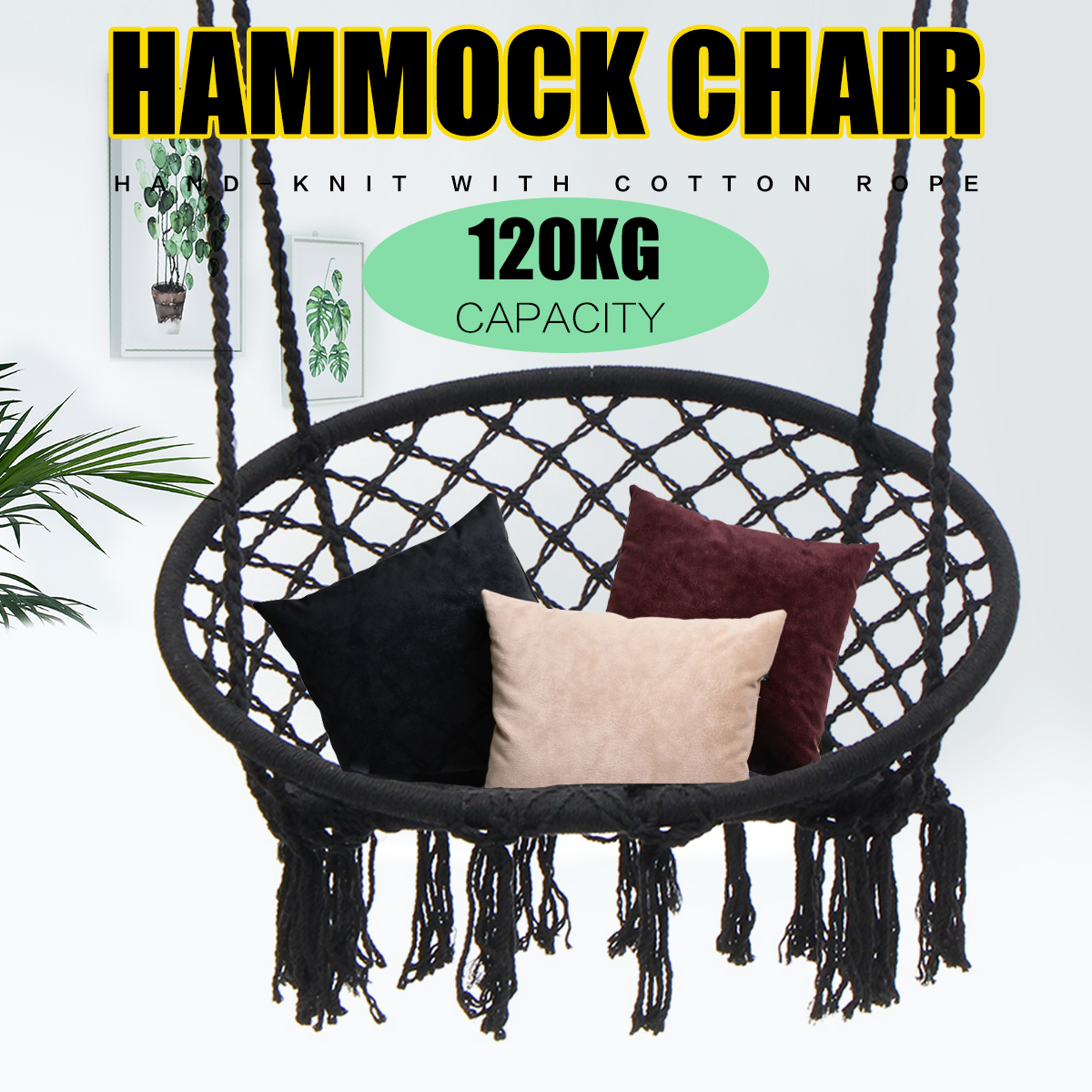 Round Hammock Adult Outdoor Indoor Dormitory Bedroom Swing