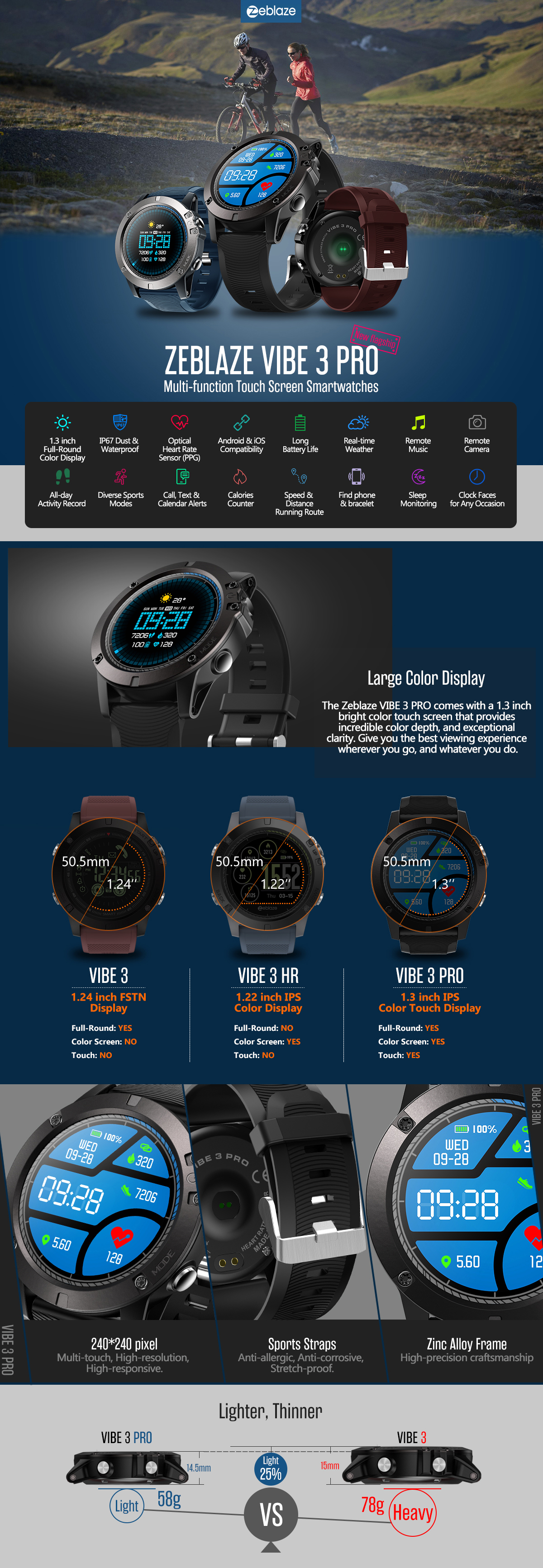 Zeblaze Vibe 3 Pro New Full Round Touch Real Time Weather Optical