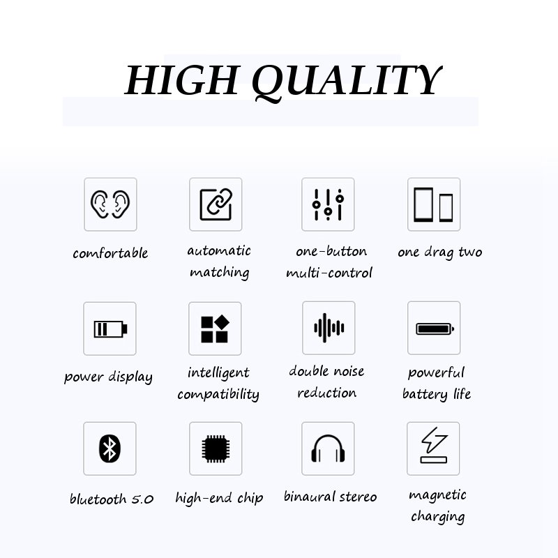 [Bluetooth 5.0] Wireless Earphone TWS HIFI IPX8 Waterproof Noise Cancelling Sport With Charging Case 12