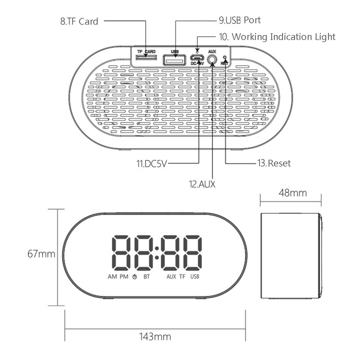 3w 4 Ohm Alarm Clock Fm Radio Wireless Bluetooth Speaker
