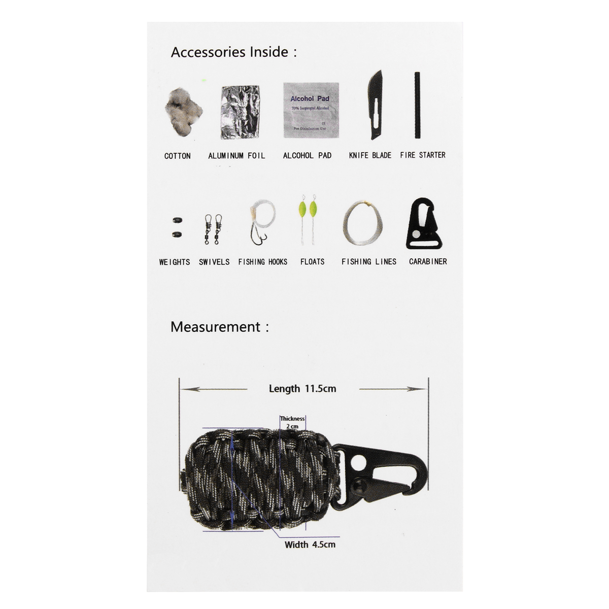 Benryhome 16pcs Outdoor Paracord Kit Survival Rope