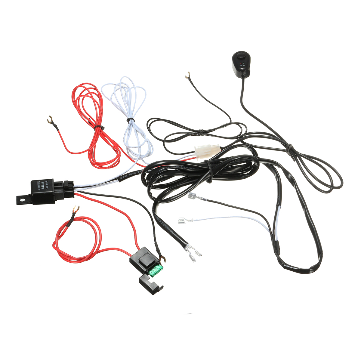 New Wiring Harness Kit with Relay On-Off Control Switch