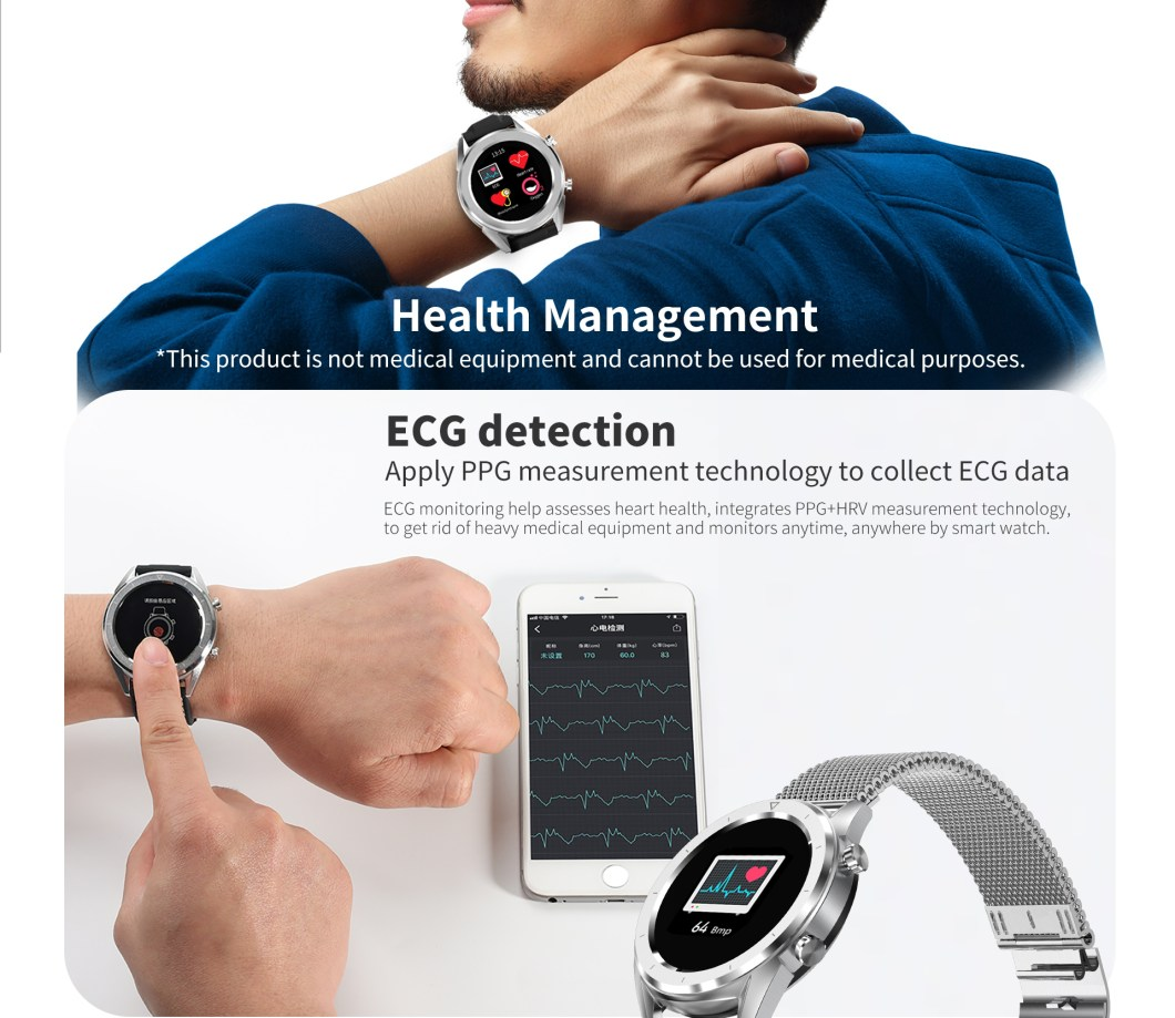 DT NO.1 DT28 1.54 Big Display Smart Watch ECG Monitor HR Blood Pressure Mobile Payment Watch 36