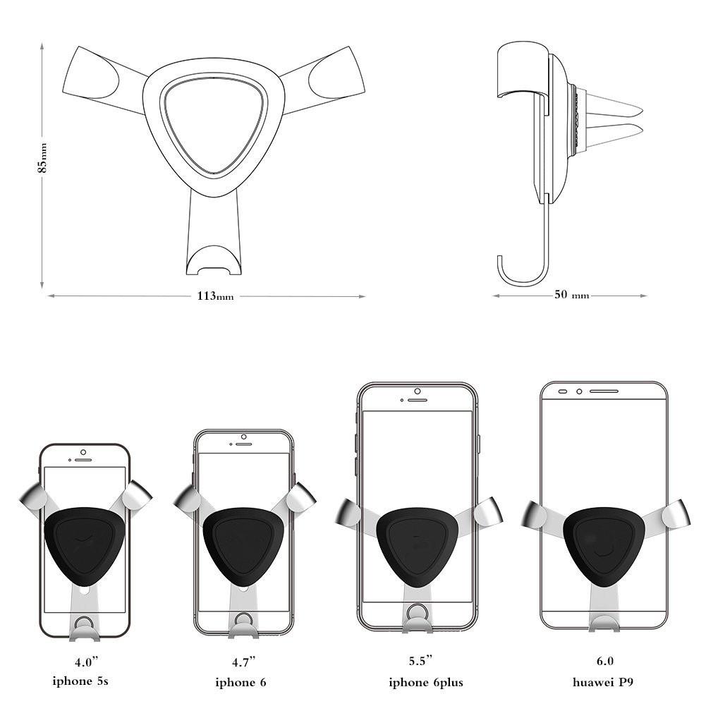 소설 삼각형 고정 장치 자동차 공기 환기 홀더 아이폰 Xiaomi에 대한 중력 연동 전화 브래킷 세일