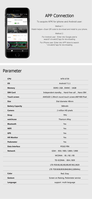 Celular Relógio LEMFO LEM8 4G Android 7.1 2Gb Ram 16Gb