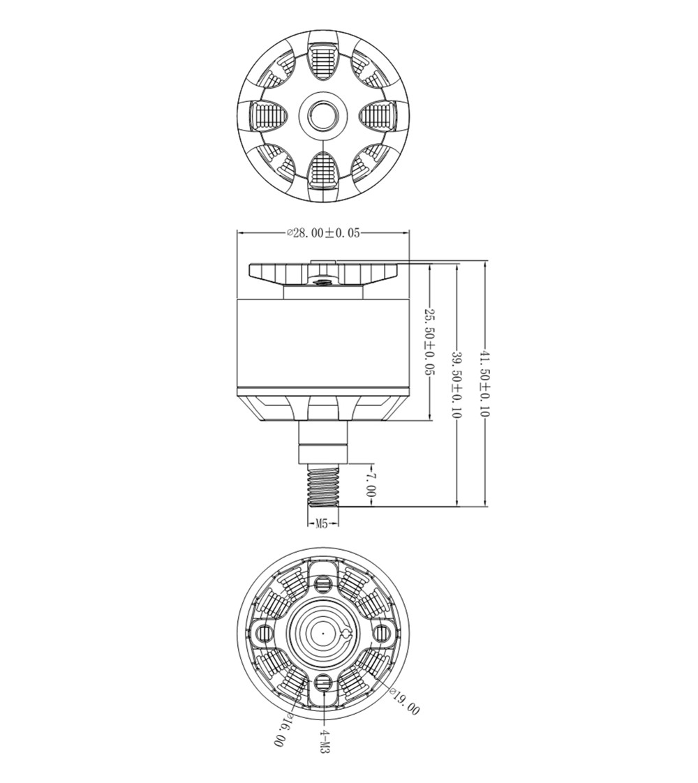 URUAV HK2312 980KV 3S Brushless Motor CW for RC Drone FPV