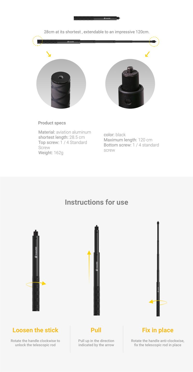 Insta360 One and ONE X Selfie Stick 1/4 Screw Port