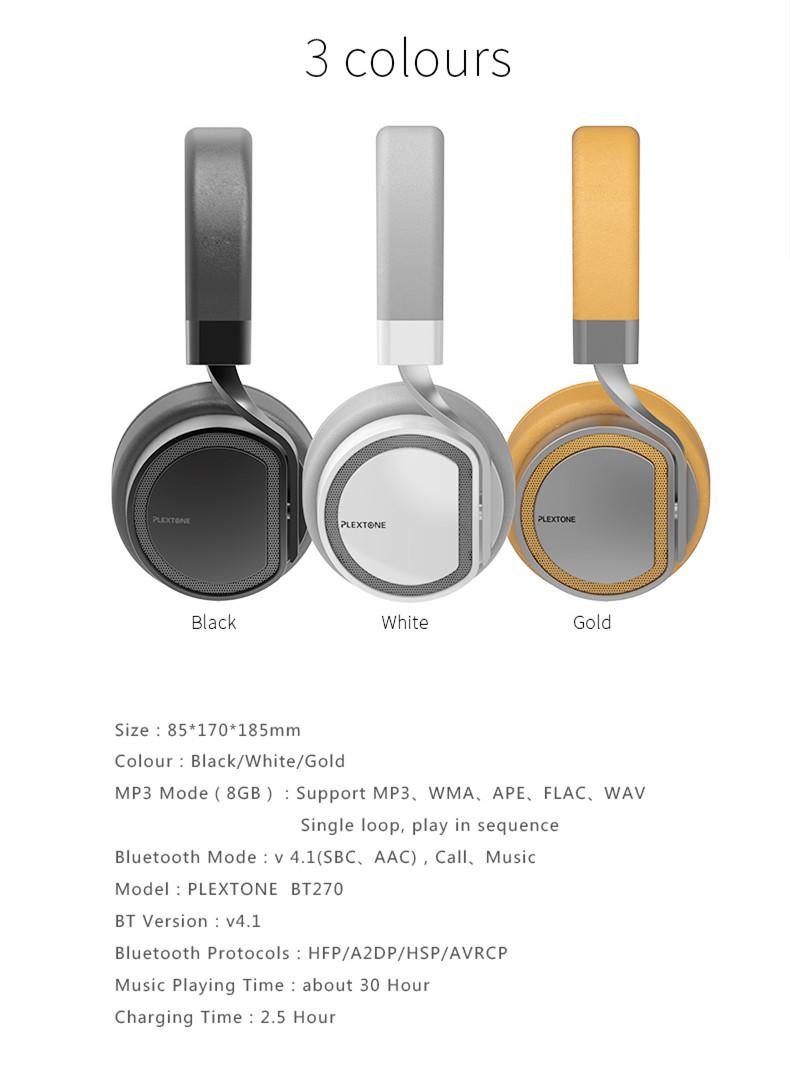 Plextone BT270 Wireless Bluetooth Headphone 800mAh 8G RAM MP3 Heavy Bass Headset for iPhone Samsung 18