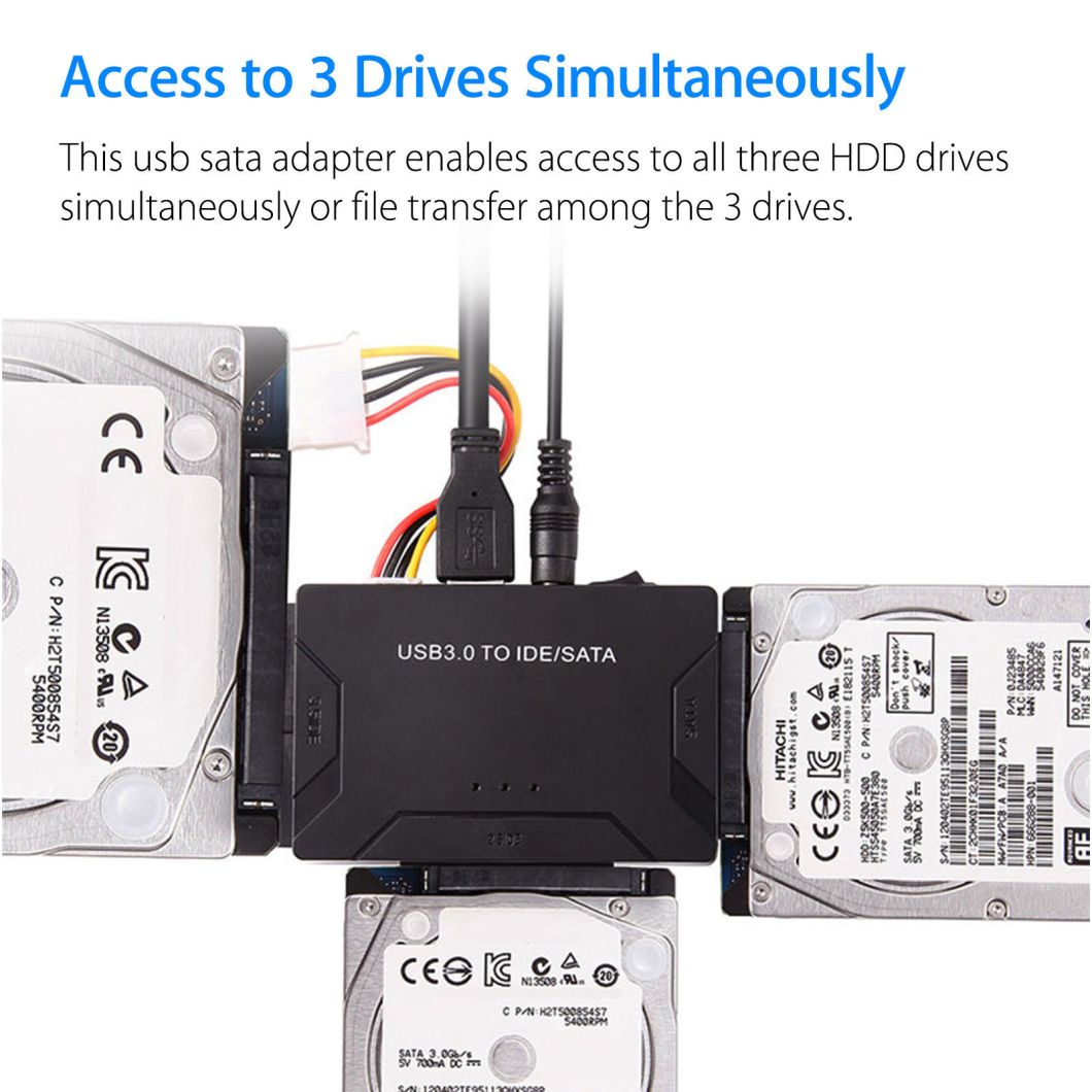 USB 3.0 to IDE + SATA HDD SSD Hard Drive Converter Cable Adapter for 2.5 3.5inch Hard Disk 30