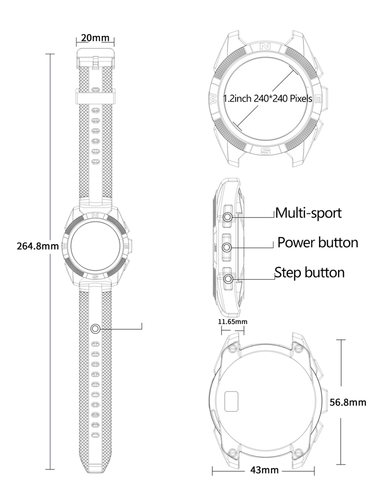 bakeey l3 ultra-thin dial heart rate monitor pedometer