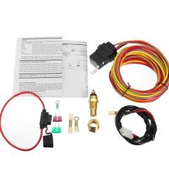 heavy duty dual electric fan 40 amp relay wiring harness thermostat sensor kit [ 1200 x 1200 Pixel ]