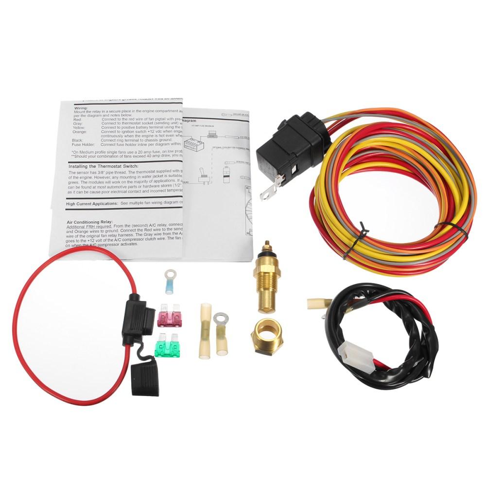 medium resolution of heavy duty dual electric fan 40 amp relay wiring harness thermostat sensor kit