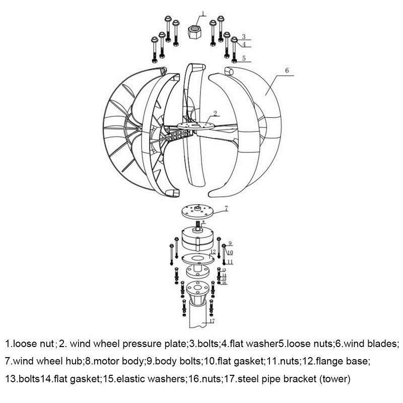 12v/24v 400w wind turbine wind generator lantern vertical