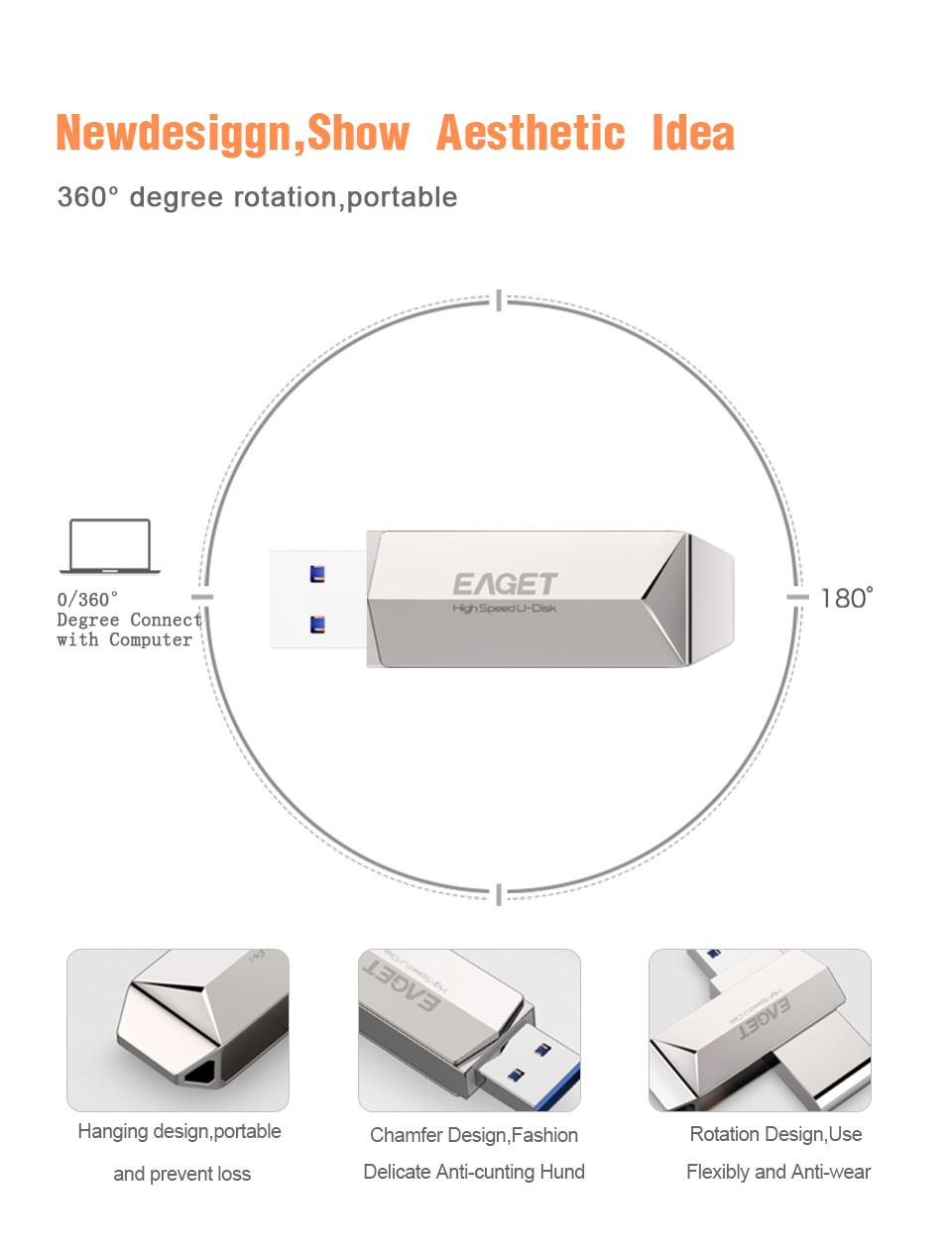 Eaget F70 USB 3.0 128GB Metal USB Flash Drive U Disk Pen Drive 360 Degree Rotation 23