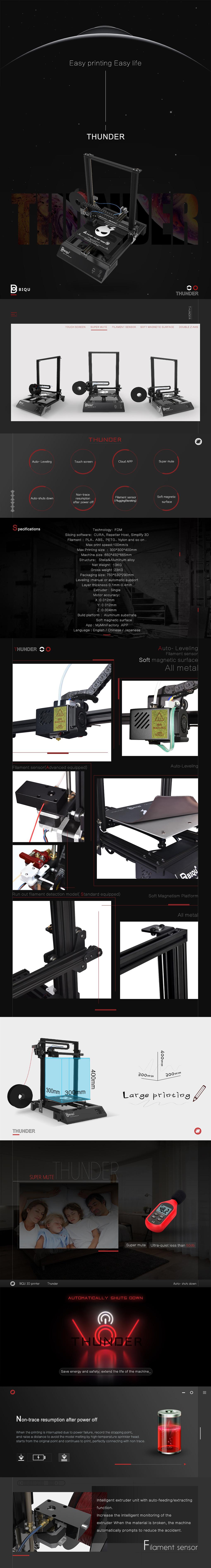 BIQU® Thunder Desktop Dual Z-axis 3D Printer Support Auto-leveling