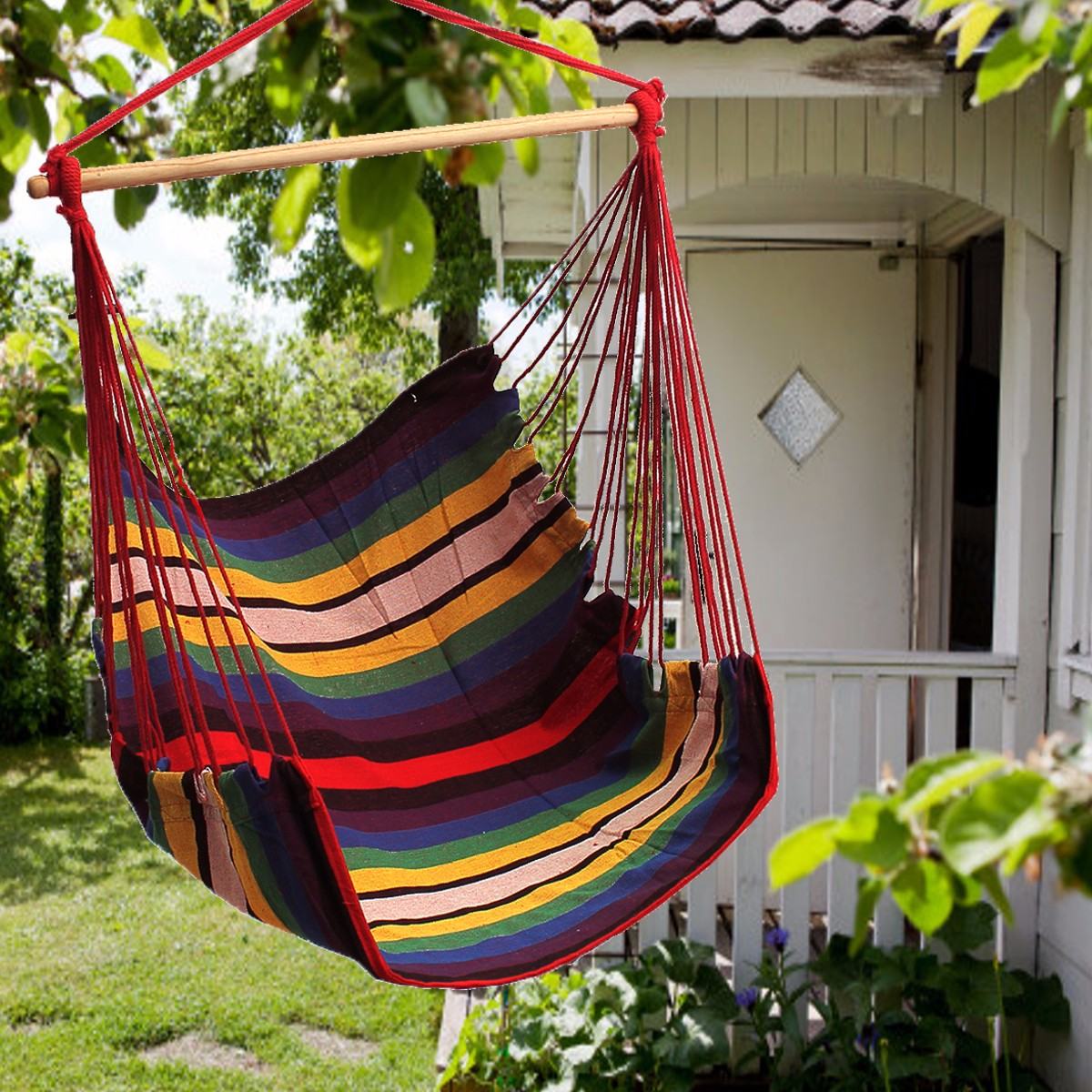 Hanging Chair Outdoor Garden Patio Hanging Thicken Hammock Chair Indoor Outdoor Cotton Swing Cushion Seat