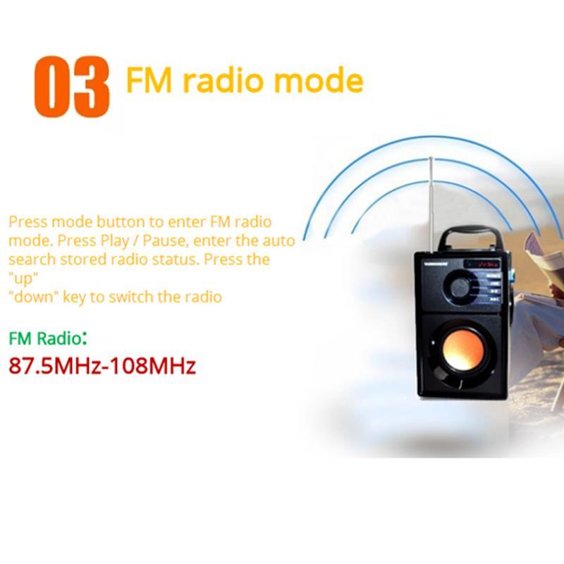 VAENSON A10 Portable Wireless Bluetooth Speaker USB Column MP3 Play FM Radio Stereo Subwoofer 11