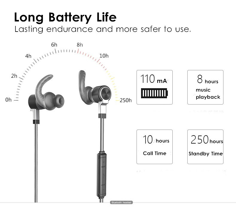 magnetic wireless bluetooth earphone bass ipx7 waterproof