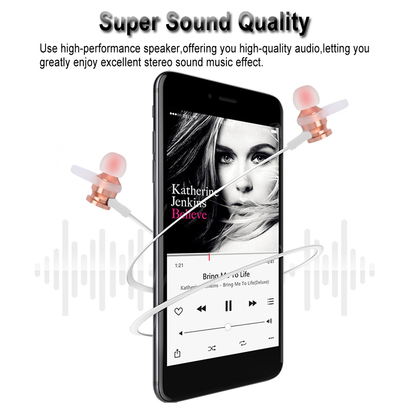rs-01 wireless bluetooth earphone magnetic adsorption bass