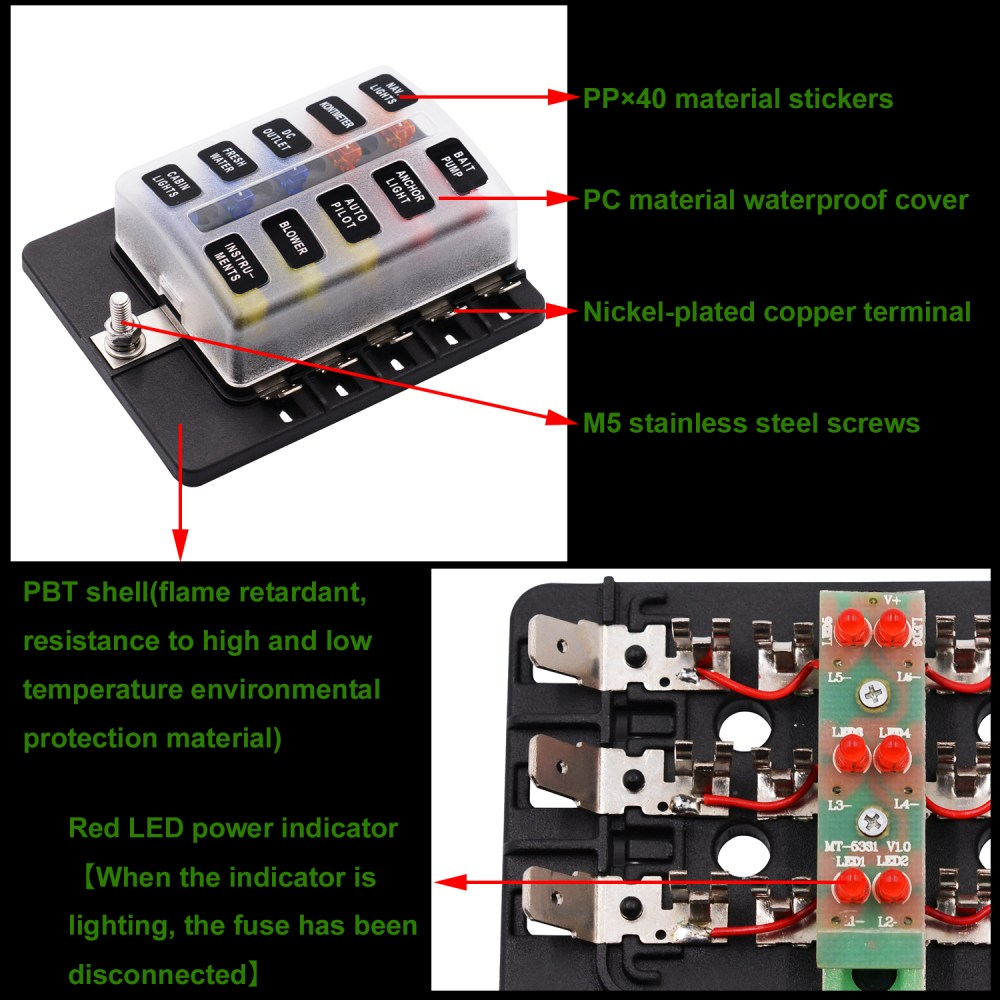 medium resolution of imars cs 579b3 10 way blade fuse box holder with led warning light for