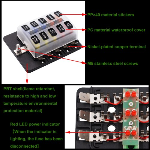 small resolution of imars cs 579b3 10 way blade fuse box holder with led warning light for