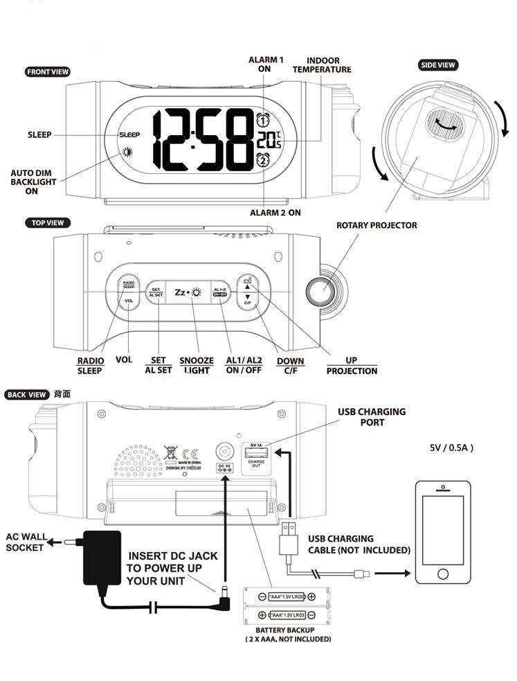 fm radio alarm clock led digital electronic desk table