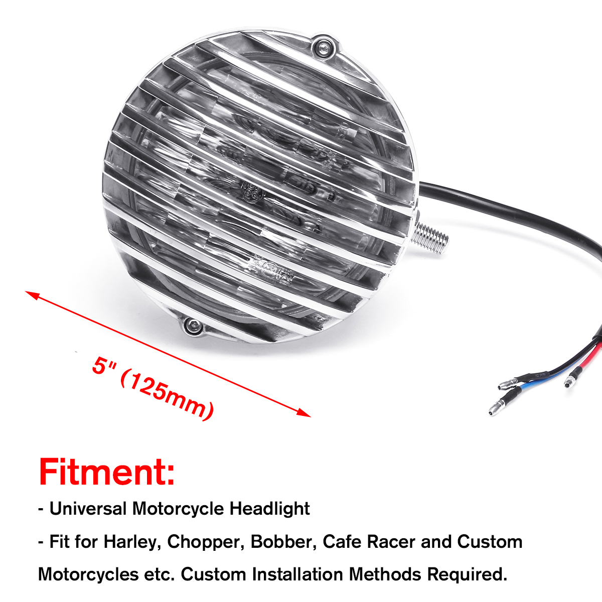 Original 5 Inch 125mm Motorcycle H4 Headlight With Grill